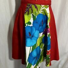 Hawaiian Aloha Skirt Red Panels Big Blue Hibiscus Flowers Knee Length Med