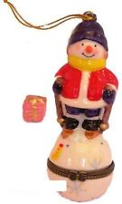Skiing Snowman-Hanging Ornament-Porcelain Hinged-Box