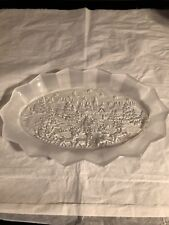 Holiday Frosted Santa Clause Scene Crystal Tray