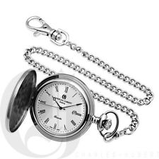 New Charles-Hubert Stainless Steel Hunter Case Quartz Pocket Watch 3543