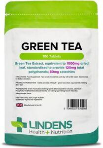 Green Tea 1000mg x 100 Tablets; 120mg Polyphenols, Lindens