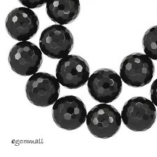 "17 Black Onyx Faceted Round Beads 12mm 8"" #58028"