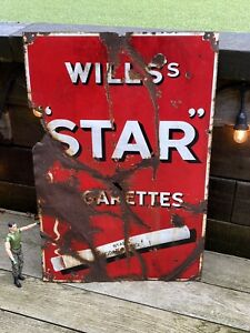 Vintage Original Wills Star Cigarettes Enamel advertising sign