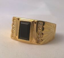 G-Filled Mens 18k yellow gold simulated diamond black onyx ring Gents oblong new