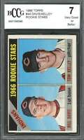 1966 topps #44 BILL DAVID / TOM KELLEY cleveland indians rookie card BGS BCCG 7