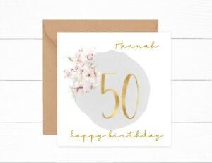 Personalised 50th Birthday Card Gold Floral Auntie Mum Grandma Friend Daughter