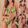 2019 Sexy Lace-up Women Zebra Print Neon Bikini Set Padding Bra Thong Swimwear