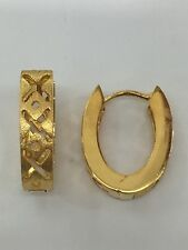 18ct 18k Yellow Gold Hoop Huggies Earrings | 3.6 Grams | Brand New Instore
