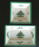 Set of 2 Spode Made in England Christmas Tree Serving Dishes Platters Plates