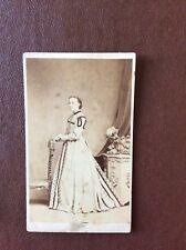 J1g Cdv Edwardian Photograph Lady Long Dress Devonport