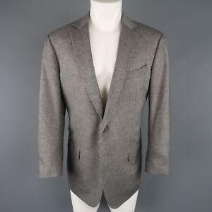 ERMENEGILDO ZEGNA 44 Grey Heather Wool / Cashmere Notch Lapel Sport Coat