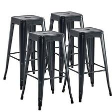 Set of 4 Industrial Metal Bar Stools 30'' High Backless Stackable Tolix Style