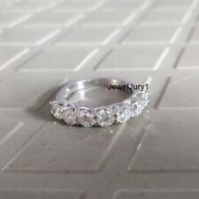 Wedding Band 925 Sterling Silver 7 Stone Round Moissanite Ring