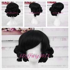 Sweet Charming HairStyle Curly Bob Black Gothic Lolita Wigs CC79+a wig cap
