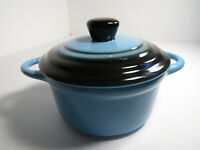 Small Round Blue Stoneware Crock / Cassoulet Dish with Lid