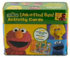 Sesame Street Look And Find Fun 100 Activity Cards For Kids Tin Container Sealed