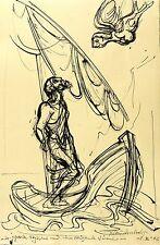 KLAUS DRECHSLER - Gefesselter Odysseus und Sirene - Federzeichnung 2002