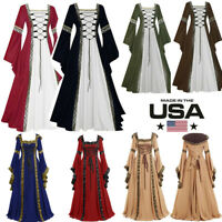 Women's Vintage Celtic Medieval Floor Length Renaissance Gothic Cosplay Dresses