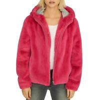 Sanctuary Womens Luv The Nightlife Pink Faux Fur Jacket Outerwear XXS BHFO 1579