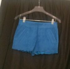 I love h81 blue suede scalloped edge side zip shorts size 25