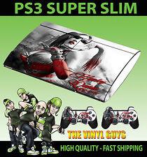 Playstation ps3 super slim Harley Quinn gotham Fille Peau Autocollant + 2 x pad skins