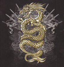RARE TEE SHIRT MANCHES LONGUES BIKER DRAGON GOLD    S. M. L. XL.XXL.XXXL+ ENFANT
