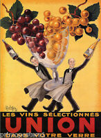 UNION SELECTED WINES IN YOUR GLASS WAITER GRAPES FRENCH VINTAGE POSTER REPRO