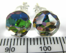 100% Real 925 Sterling Silver 8mm cut round clear & rainbow studs earrings