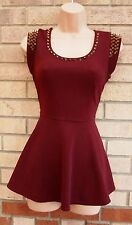PARISIAN BURGUNDY STUDDED SPIKE STUDS BEADED PEPLUM TOP BLOUSE TOP 12 M