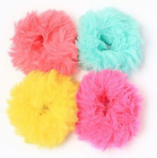 Faux Fur Scrunchies Pack of 4 Elasticated Scrunchies Hair Accessories Neon