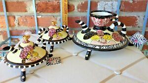 Vintage Lynda Corneille Sealed With A Kiss Gertie Teapot, Creamer, & Sugar Bowl!