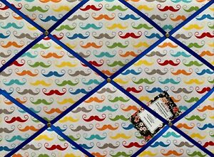 SALE Riley Blake Moustaches Crafted Fabric Notice Pin Memo Board Photo 40x30cm