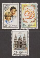 1981 Royal Wedding Charles & Diana MNH Stamp Set Liberia Perf SG 1490-1492