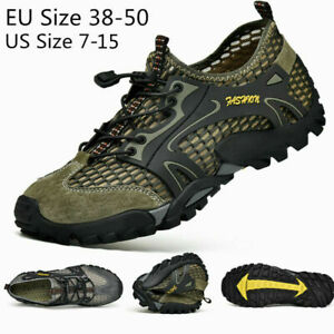Mens Outdoor Sneakers Water Shoes Mesh Breathable Slip on Flats Hiking Casual SZ