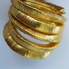 """Chicos bangle goldtone 4"""" wide 5 wires wrapped bold statement cuff bracelet NEW"""