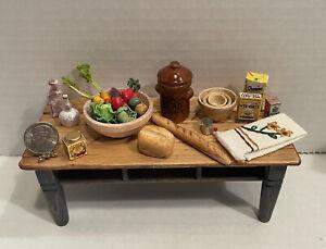 Vintage Artisan Food & Tableware Bread Veggies Dishes Dollhouse Miniature 1:12