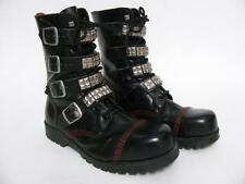UNDERGROUND ENGLAND BLACK LEATHER STEEL CAP PUNK ROCK GRUNGE BOOTS SHOES~8 UK