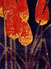 RED HOT POKERS Original WOODBLOCK woodcut Signed Limited-Edition Art Print