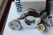 Luneta GU10 240v IP65 Cast Polished Chrome Shower Down Light + 3w LED bulb 3000k