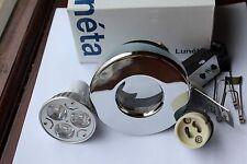 4 x Luneta GU10 240v IP65 Die Cast Chrome Shower Down Light + 3w LED bulb 3000k