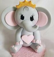 Girl Baby Elephant Cake Topper BabyShower Elephant Cake Centerpiece Decoration