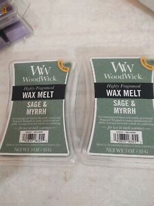 Wood Wick Sage & Myrhh Fragrance Wax Melt Cubes by Yankee Candle - Set of 2 NEW