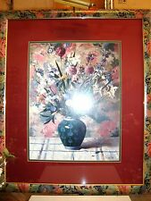 BEAUTIFUL FLORAL ARTWORK - FRAMED & MATTED WITH BRASS LIGHT ATTACHED ASIAN FRAME