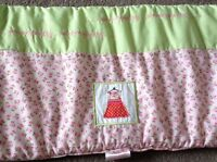 Silver Cross Cot Bumper Candy Pink With Green & Floral Pattern <R11800z