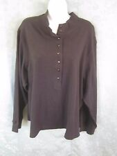 QVC Denim & Co Henley Top Plus Size 3X Black 100% Cotton NWT NEW