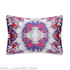 Anthology Melody Oblong Embroidered Decorative Toss Pillow White Purple Red