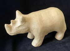 "Brown Cardboard Rhino Sculpture Figure 8.5"" Boho Chic"