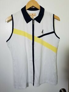 1 NWT SPORT HALEY WOMEN'S S/L POLO, SIZE: LARGE, COLOR: WHITE/NAVY/YELLOW (J168)