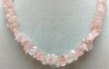 """*Authentic* India Rose Quartz Chip Bead Crystal 18"""" Necklace #15"""