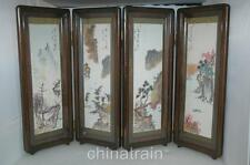Vintage Japanese 4-Panel Table Desk Screen Shell Sea Urchin Spine Landscapes